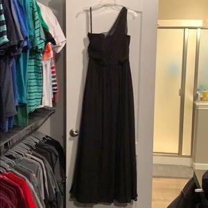 Long black one shoulder Alfred Angelo dress